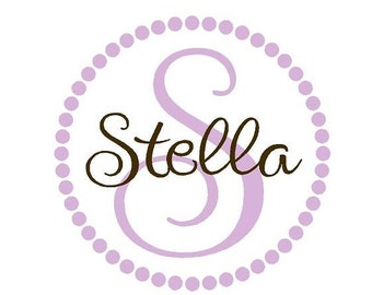 Personalized Children Name Vinyl - Polka Dot Wall Decals - Name with Initial Vinyl Decal FN0172