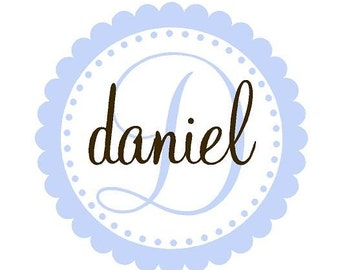 Boy Name Decals - Scallop Circle with Polka Dots Custom Initial and Name Vinyl Wall Decal Girl or Boy Baby Nursery FN0156