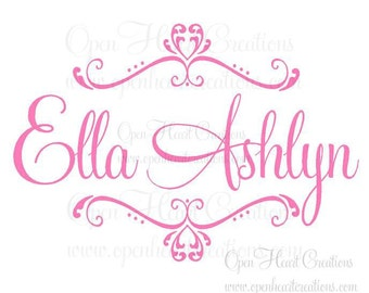 Girl Name Wall Decal - Personalized Baby Name Wall Decals - Name Decal with Heart Accents for Nursery 22H x 32W FN0188