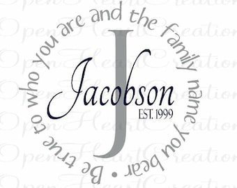 Family Name Wall Decal - Be True To Who You Are Family Name You Bear - Name Wall Decal - Name and Initial Monogram 22 inch PD0010
