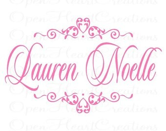 Girl Name Wall Decals - Damask Heart Accent Vinyl Decal with Baby Name Monogram Vinyl Wall Decal Elegant Shabby Chic 22h x 36w FN0262