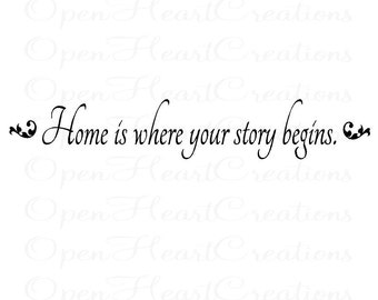 Home is Where Your Story Begins - Picture Photo Wall Family Entryway Wall Quote 6H X 36W Qt0131