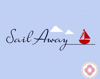 Nautical Wall Decals - Sail Away with Sailboat Clouds and Waves - Baby Nursery Decals 10H x 36W BA0024