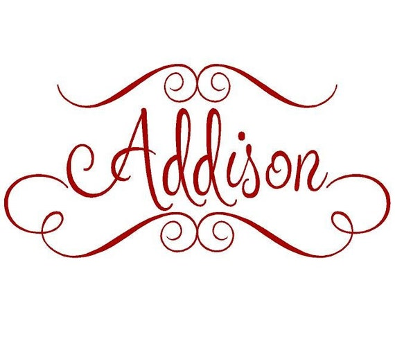 Personalized Name Vinyl Wall Decal - Vinyl Lettering for Baby Nursery Girl Teen with Fun Accents Monogram 22h x 36w FN0011