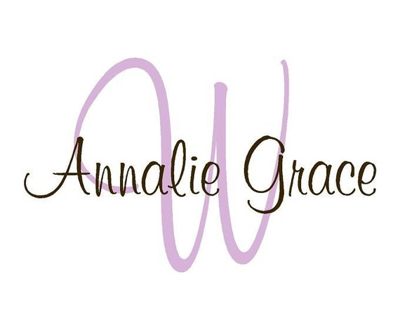 Large Personalized Initial and Name Monogram Vinyl Wall Decal  - Girl or Boy Personalized Name Decal IN0019