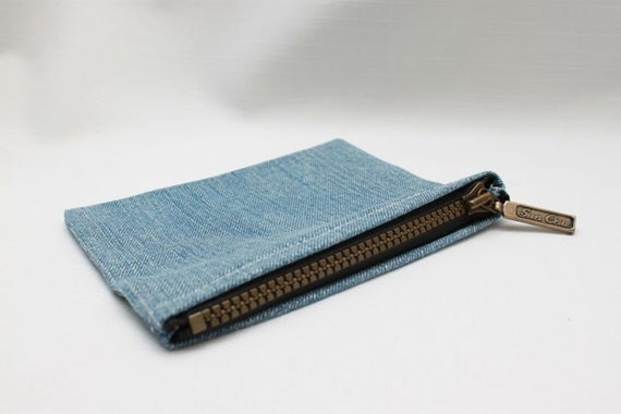 Up-cycled small denim change pouch
