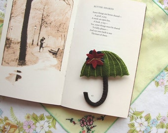 Wool Felt Umbrella Brooch - Grass Green