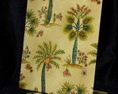 "Magnetic Recipe Board  (Waverly Kauai Exotic Floral Fabric) Organizer or Memory Board - 11"" x 12"" Freestanding"