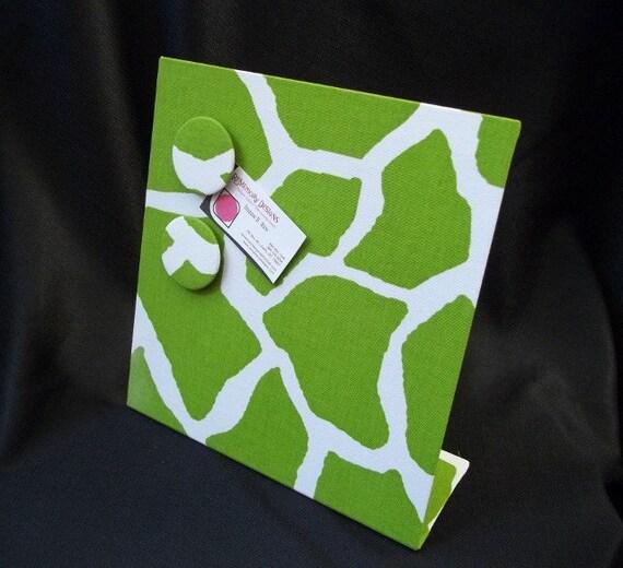 Decorative Magnetic Board - Memo Board - Lime Giraffe Fabric for  Desktop or Countertop Free Stand 11 x 12