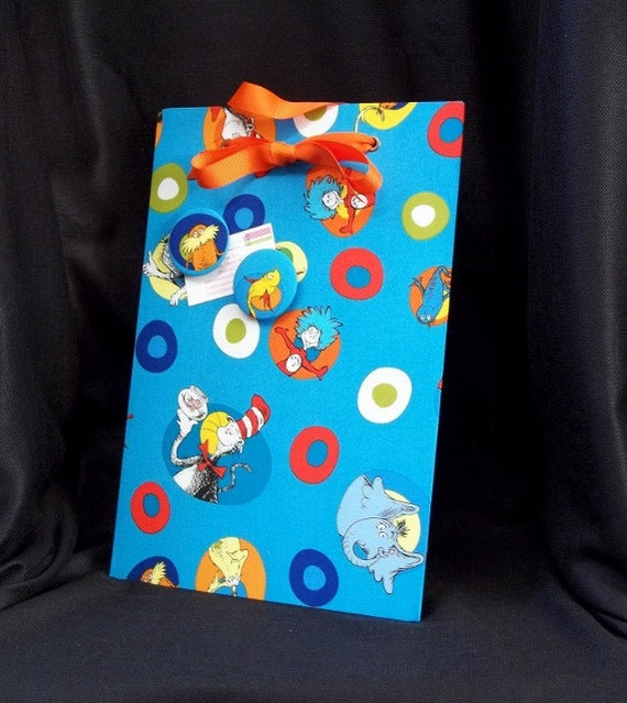 """Dr. Seuss Magnetic Board for Kids Bedroom - Fabric Memory Board (11"""" x 16"""")  Wall Hanging Organizer or Memory Board"""