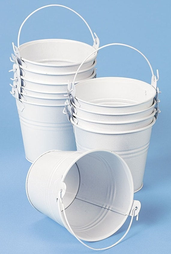 16 mini white metal bucket container pails by craftkarma for Small pail buckets