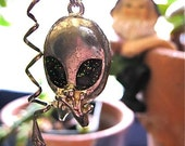 HALLOWEEN SPECIAL Space Punk Steam Punk Alien Snake Sparkling Cabochon on a Sterling Chain