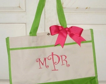 Personalized Bridesmaid Color Block Tote in Black, Navy, Red, Hot Pink or Lime