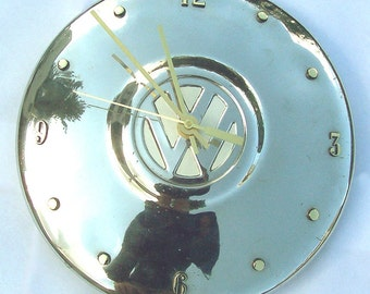 Retro Clock: Volkswagen Hubcap made into a Clock, 1966 VW, with numbering (a recycled clock)