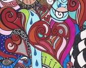 Original Drawing on Recycled Cardboard Vibrant Bold Colors Matte Metallic Glossy Beautiful Abstract 7.5x4 inches