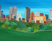 City Abstract Huge Original  Acrylic on 24Lx48W Canvas  Beautiful Colors and Texture Heather Montgomery