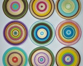 Canvas Circles 9 Beautiful Metallic Colorful Halos Acrylic on Cotton Stretched Canvas Circle Frames Ready to ship