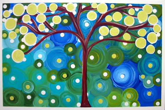 Reserved for Mary Beth Tree Abstract Acrylic Painting on BIG 24Lx36W  Canvas Beautiful Colors