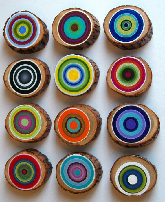 Tree Ring Set of 12 Customize your colors Rustic Wood Vibrant Dimensional Unique Wall Decor
