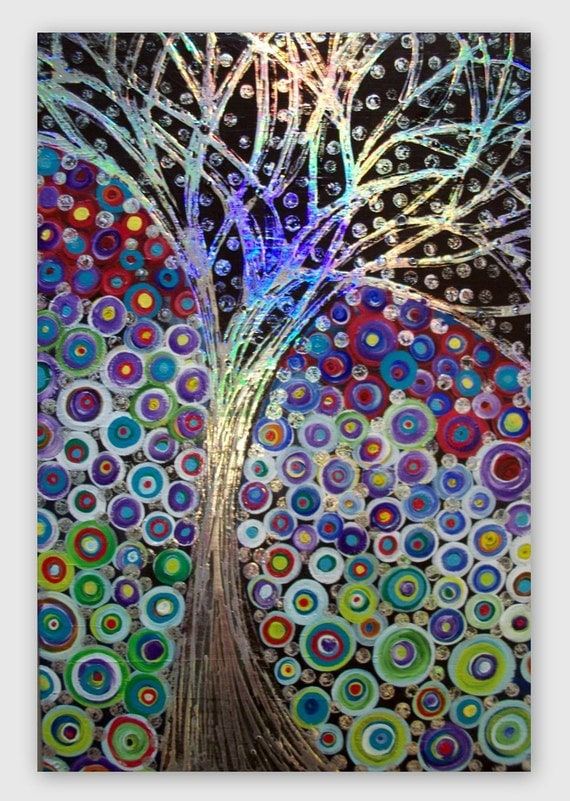 Tree Abstract Original Acrylic on Canvas 36Lx24W  Beautiful Colors and Texture Rainbow Foil painted by Heather Montgomery