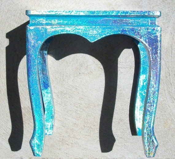 Holographic Handpainted Wood Table 10inches Tall Top 9x8.5inch  Accent Table, Centerpiece, Plant Stand