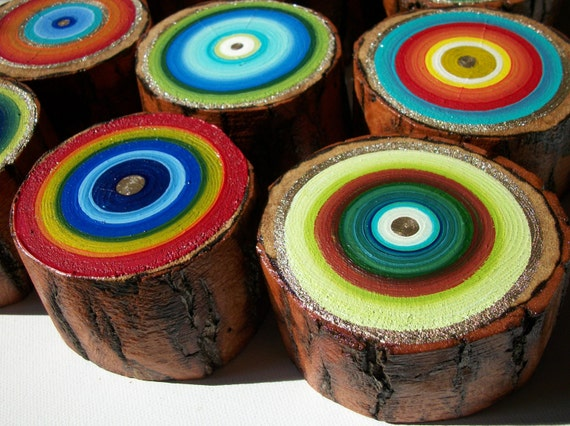 Ready To Ship 9 Chunky Tree Rings Colorful Earthy Eco Friendly Art for your unique space