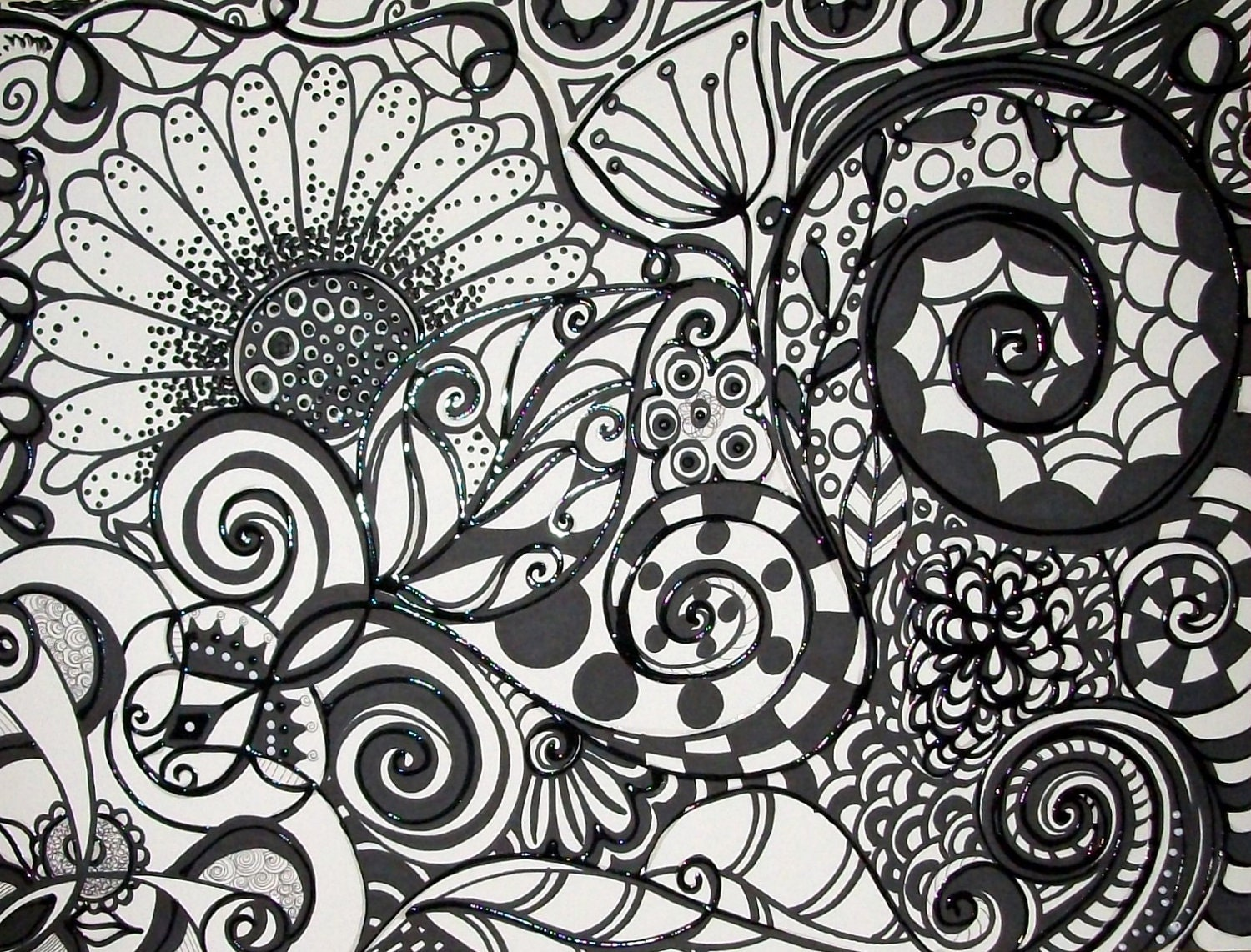 Black and white original abstract ink acrylic painting on for Abstract painting on black canvas