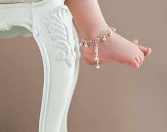 Sterling Silver Jingle Bells Anklet for Toddler