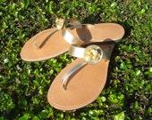 Gold fine flat sandals
