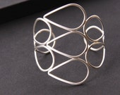 """Elegant silver bracelet made with eco friendly recycled silver in a modern, unique shape - """"Arches Cuff"""""""