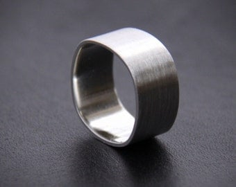 "Wide sterling silver ring for men or for women, unisex silver ring with modern square shape with brushed and shiny finish - ""Duality Ring"""
