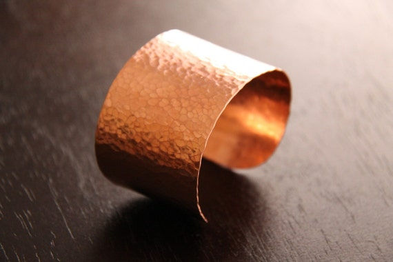 Egyptian cuff - popular wide band wristlet of hammered copper design