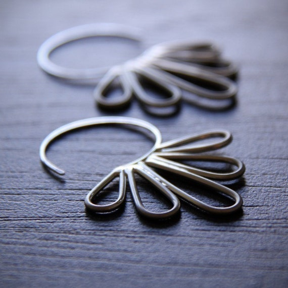 Peacock Hoop earrings - whimsicle and modern sterling silver pair