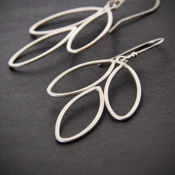 """Simple silver earrings handmade in eco conscious ways using 3 handformed recycled sterling silver wire leaf shapes - """"Three Petals Earrings"""""""