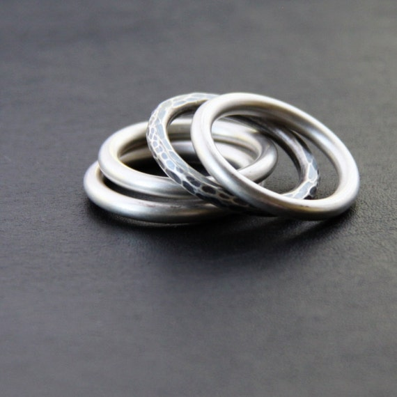 """Set of 4 silver stacking rings custom made per order in any size, 3 rings are plain while one is hammered and oxidized - """"Cuatro Rings"""""""