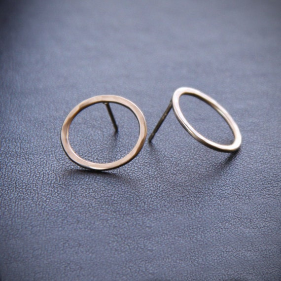 """Modern solid 14K gold earrings handmade in a classy and elegant style for a pair of round hammered studs - """"Petite Simple Classic Circles"""""""