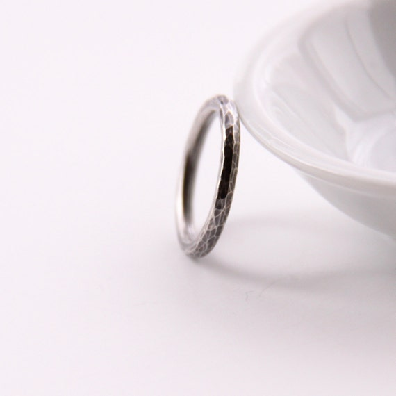 "Edgy silver ring handmade of recycled sterling silver, surface is hammered and oxidized for rough, worn appearance - ""Uno Ring"""
