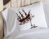 One (1) Brown Clipper Sail pirate Ship with Anchor White Nautical Standard Pillowcase pillow cover case