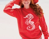 Size Large Red Sweatshirt White Sea Horse Nautical beach coast coastal retro pin up Ladies Teen Girl sweat Shirt