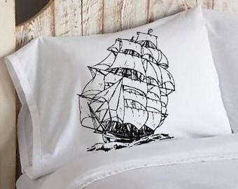 Nautical Tall Sail Ship Crew old Boat sailor sailing SAILBOAT PILLOWCASE sail Pillow case ocean sea decor home standard bedding