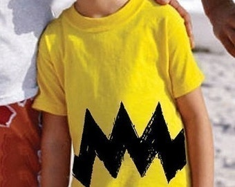2-3T Cartoon Charlie Yellow Black Zig Zag American kids boy girl peanuts FUNNY toddler costume brown unique birthday gift Tee Shirt T-Shirt