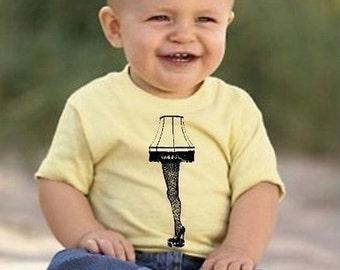 A Leg Lamp-Shirt Yellow Black kids boys girls Baby infant toddler 6M 12M 18M 2T 3T 4T 5/6 FUNNY story Tee Shirt highheel stockings movie