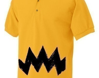 Large Retro NEW Charlie Yellow Zig Zag stripes Mens Men's peanuts vintage brown unique birthday gift  Jersey Adult Polo Shirt golf
