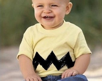 Double Zig Zag on front/back Cartoon Charlie kids boys girls peanuts BABY infant toddler 6M 12M 18M 2T 3T 4T 5/6 brown Tee T-Shirt Teeshirt