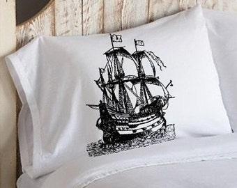One (1) Black Nautical Tall Clipper Pirate Ship Sail Boat Pillowcases pillow cover