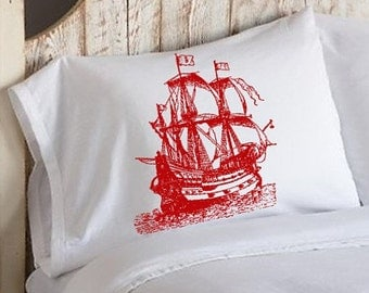 One (1) Red Nautical Tall Clipper Ship Sail Boat Pillowcases pillow cover