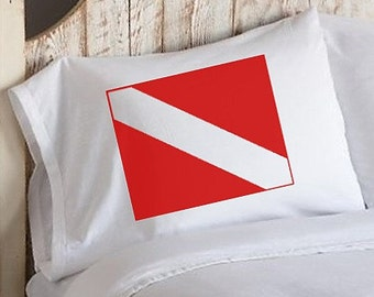 Two (2) Nautical Red Divers Flag White Standard Pillowcase pillow case cover ship scuba diver