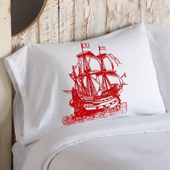 Two (2 for 20) Red Nautical Tall Clipper Ship Sail Boat Pillowcases pillow cover
