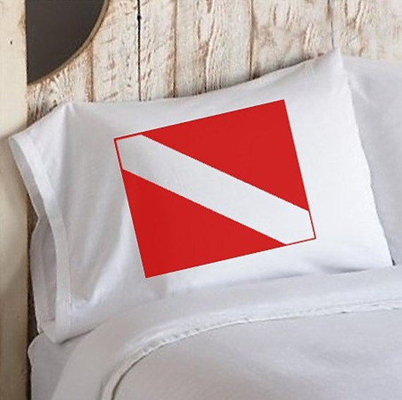 Two (2) Nautical Red Divers Flag White Standard Pillowcase pillow case cover ship scuba diver