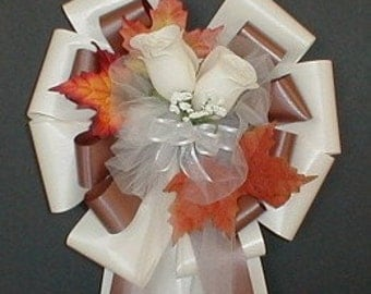 6 IVORY/CHOCOLATE Fall Pew Bows - Wedding Decorations